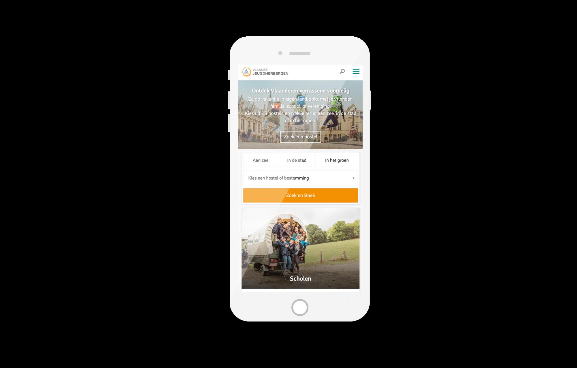 Vlaamse Jeugdherbergen Website mobiel