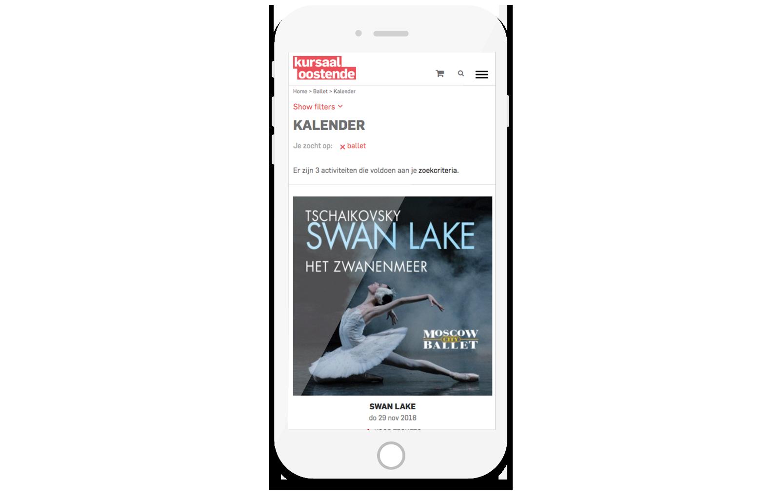 Kursaal Oostende Website mobiel